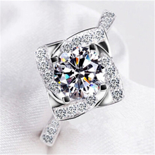 Stamped bague anillos cz femme love diamond rings wedding ring silver