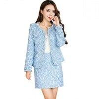 2018 Runway Women Wool Tweed 2 Piece Set Ladies Pearl Cardigan Fringed Trim Pocket Jacket Coat+Pencil Skirt Suits Plus Size
