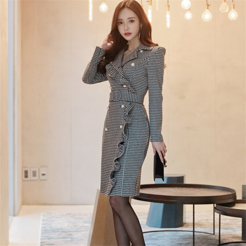 Women Blazers Dresses Spring Double Breasted Houndstooth Long Sleeve Sexy V-Neck Pleated Dress Office Lady Slim Basic Vestidos
