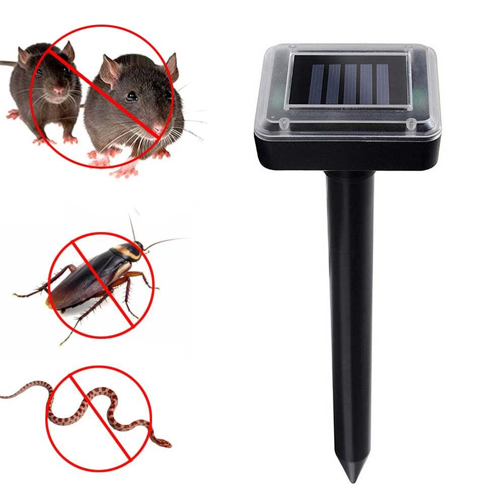Energía solar ultra Sonic ratón mole cucarachas serpientes plagas de roedores repelentes Control para Control de plagas jardín patio e2s