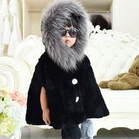 Новинка 2017 зимний мех плащ принцессы для девочек кроличий мех пальто густой мех шаль плащ детское меховое пальто детские пальто al1307