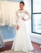 Free Shipping 2014 Romantic Designer Discount Mermaid Sweep Train Long Sleeve Lace Wedding Dress MF017