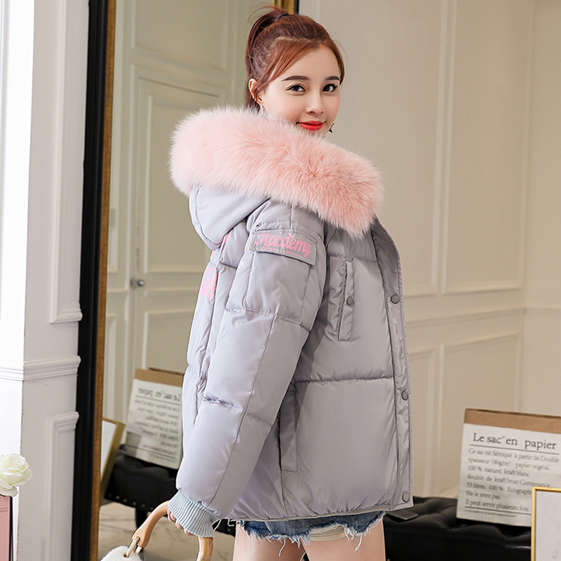 2019 Winter Women   Parkas   New Slim Coat Hooded Cotton Padded Jacket All-Match Jacket Female Outwear