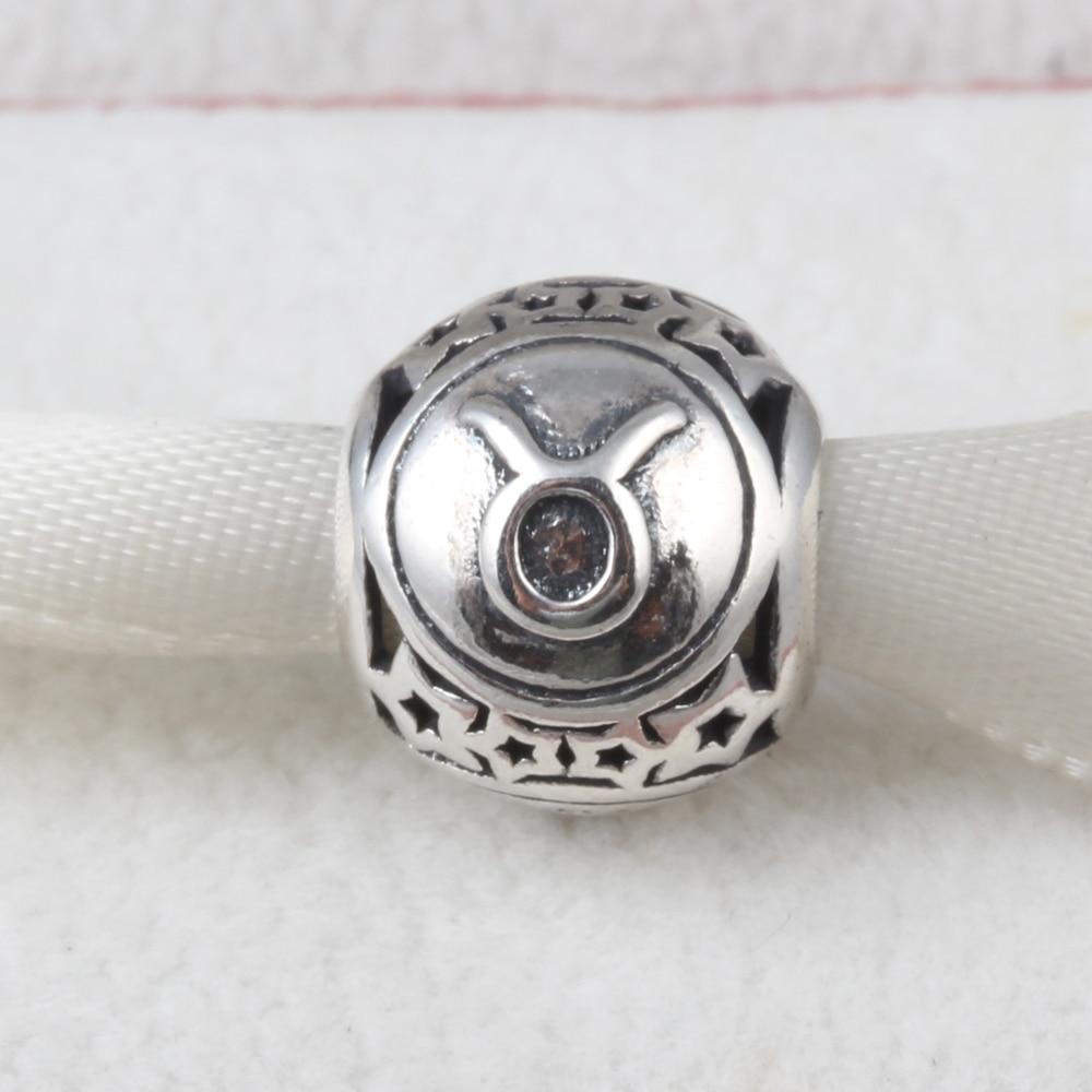 ZMZY Jewelry 12 Zodiac Taurus Constellations 100% 925 Sterling Silver Charms Beads Fits Pandora Charms Bracelet