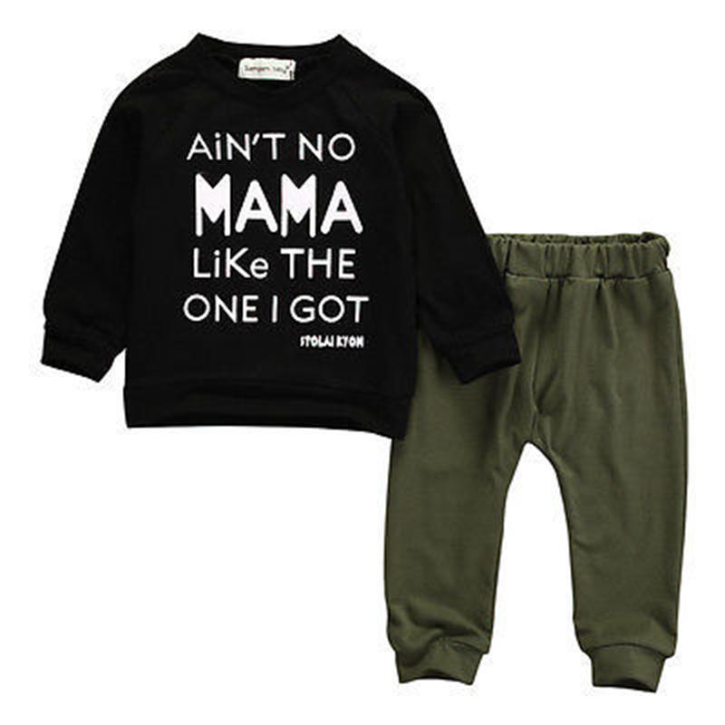 2pcs Baby Boy Clothes Letter Long Sleeve T-shirt Tee+Long Pants Outfits Set 0-3Y Children Clothing Girl Winter Clothes Baby Sets marine style striped baby boy tee shirt t shirt