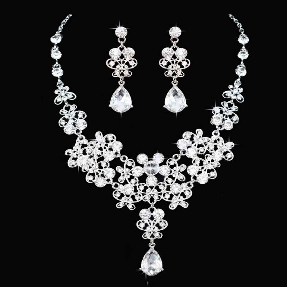 Fashion Crystal Wedding Bridal Jewelry Sets Tiara Crown Earring Necklace Bride Women Pageant Prom Jewelry Set Hair Ornaments 4