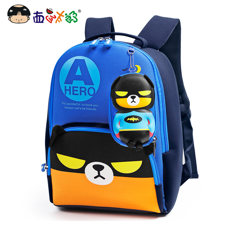 MELONBOY School Bags Little Boys Backpack Hero Bear Cartoon Image Glow In The Dark Light Weight For 4-6 Years Children