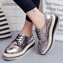 09eae348b476 COVOYYAR Oxford Brogues Shoes women 2019 Vintage Patent Leather Cut Out Women  Sneakers Spring Platform Wedge