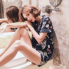 2019 Verão Nova Senhoras Pijamas Set Comfort Algodão Acetinado Marinha Floral Turn down Collar Fresco Sleepwear Desgaste de Lazer Feminino homewear