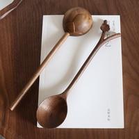 Handmade Wooden Spoon Black Walnut Plum Blossom Long Handle For Tea/Dessert Tableware Kicthen Accessories Beeswax Painting