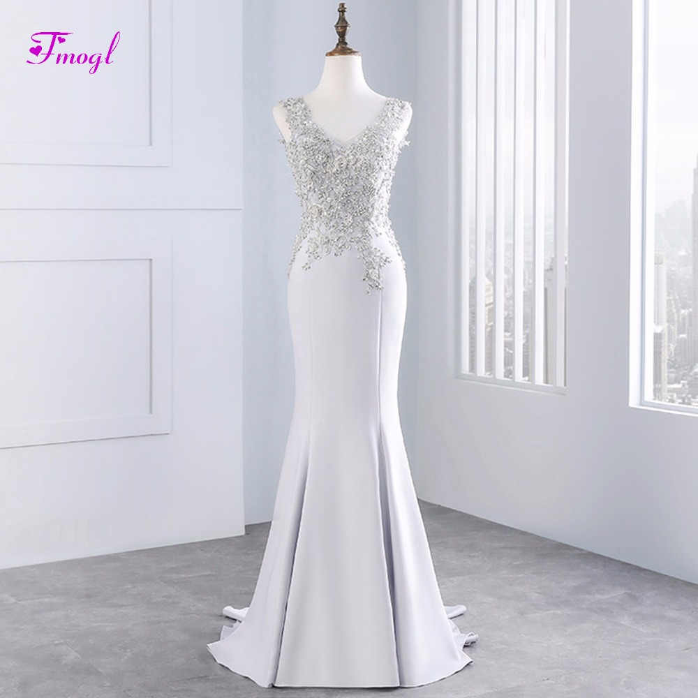 Fmogl Gorgeous Appliques V-neck Mermaid Evening Dresses 2018 Luxury Beaded Backless Celebrity Dress Party Gown Vestido de Festa