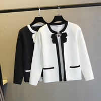 wool sweater women bowknot collar long sleeve short sweater pull femme hiver black white plus size short cardigan dropshipping