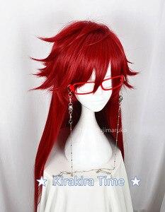 Image 2 - บัตเลอร์สีดำ Kuroshitsuji Grell Sutcliff สีแดงยาวตรงทนความร้อนผมคอสเพลย์วิกผม + Skull Chain แว่นตา