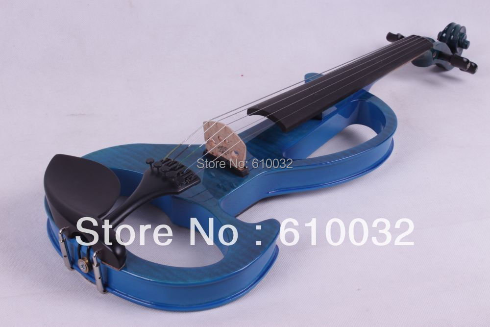 4/4 Electric Violin Solid wood 6 --9# silvery blue color 5 string 4 4 new 4 string electric acoustic violin solid wood nice sound brown color