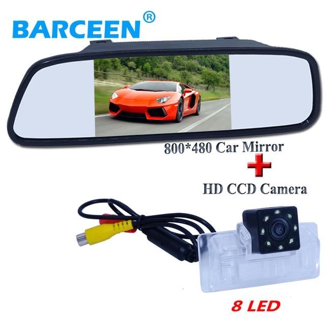 "Adaptarse para Nissan Almera/TEANA/Sylphy Altima negro shell 5 ""espejo de coche monitor Parasol con ccd cámara de vista trasera del coche 8 led"