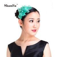 ShanFu Vrouwen Sinamay Fascinators Hoofdband Mooie Bloem Hoofddeksel Rood roze groen voor Bruiloft Kerk Cocktail SFD2805