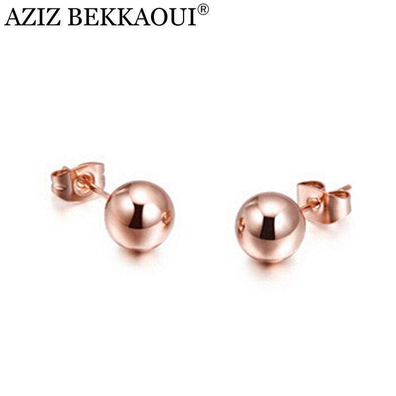 AZIZ BEKKAOUI Rose Couleur Or Boucles d'oreille Rondes pour les Femmes Chanceux Balle Boucle D'oreille Brincos de Haute qualité Perle Ronde Oreille accessoires