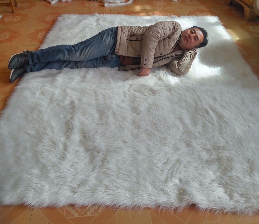 White Faux Sheepskin Rug Long Faux Fur Blanket Decorative Blankets ... for Sheep Fur Blanket  186ref