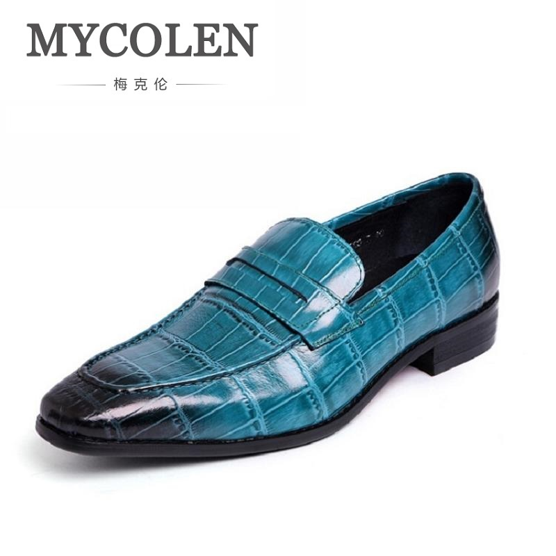 MYCOLEN Men's Leather Shoes Genuine Leather Wedding Party Blue Shoes Men Fashion Genuine Leather Dress Work Shoes Mocassin genuine leather