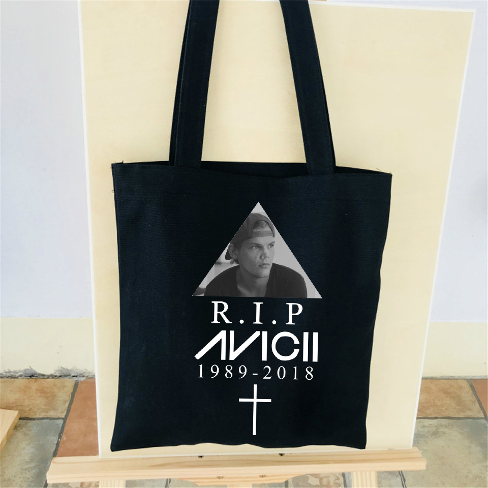 R.I.P Avicii Shoulder Bag print Cotton High Quality Tote Female&Man Shoulder Shopping Stylish New Style Bag Customize unique bag