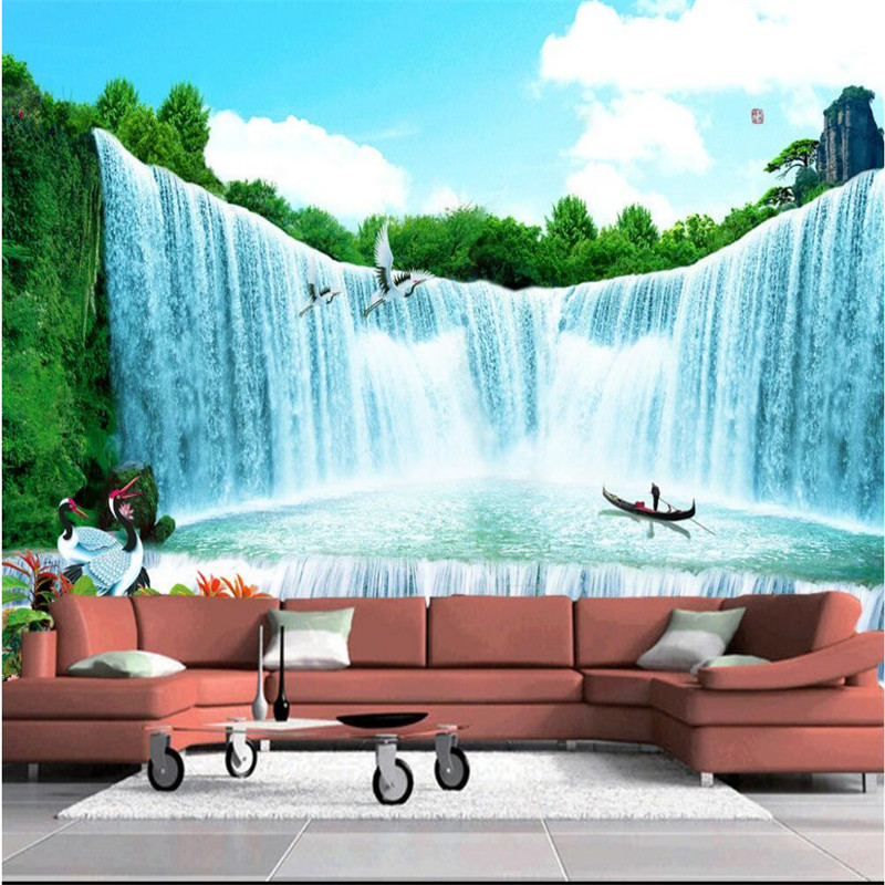Custom photo wallpaper living tv company office landscape for Big wallpaper for wall