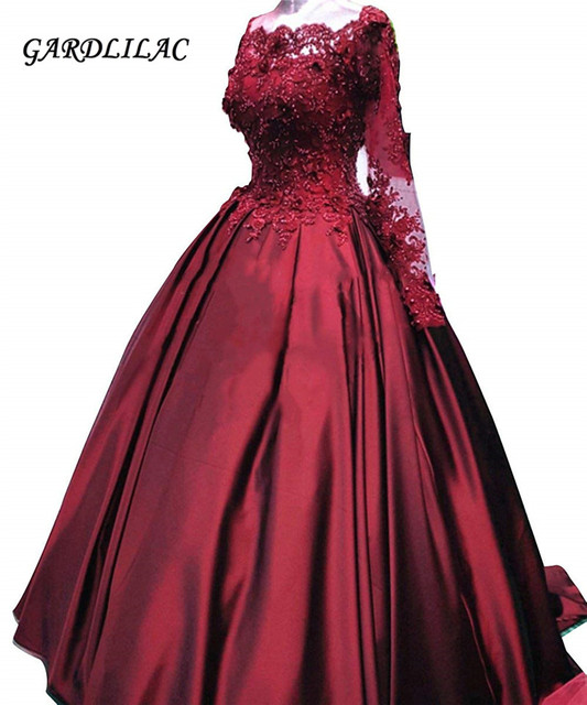 870b5d282bb Burgundy Ball Gown Quinceanera dresses Lace Long Sleeve Prom Formal Gowns  Off The Shoulder Dress Plus Size G0128