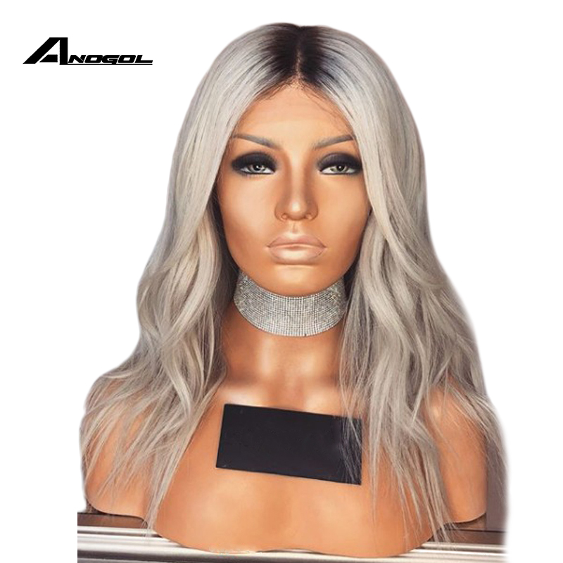 Anogol Grey Wig 180% Density Heat Resistant Synthetic Lace Front Wig With Baby Hair 16 Inch Short Ombre Wigs For Black Women