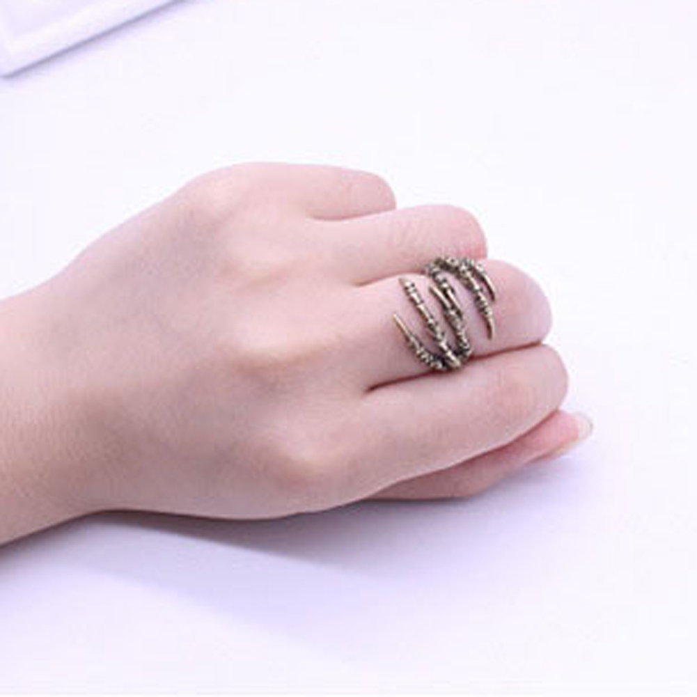 Gothic Punk Antique Alloy Eagle Claw Ring, Fashion Mens Opening Talon Rings Spell Mystery Jewelry