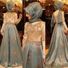 New Arrival Arabic Evening Dresses Women Kaftan Dubai Hijab Evening Gowns Appliques Satin Long Sleeve Muslim