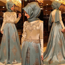 New Arrival Arabic Evening Dresses Women Kaftan Dubai Hijab Evening Gowns Appliques Satin Long Sleeve Muslim Evening Dress