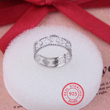 Chegada nova authentic 925 sterling silver sparkling quatro flor do trevo do anel micro pave cz para as mulheres da jóia do casamento
