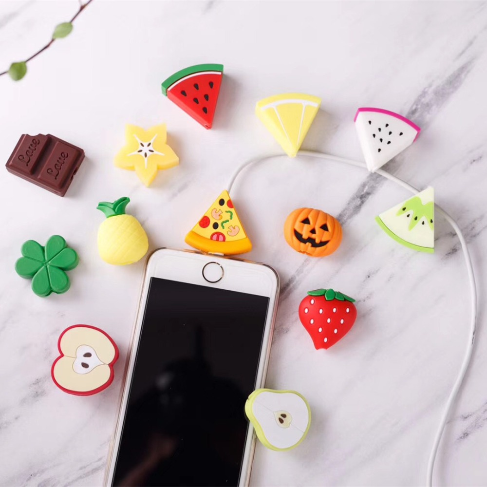 Cute Phone Cable For apple iphone 5se 5s 5 6s 6 7 8 plus x s max Case usb Data Line Fruit Protector For iphone x Accessories