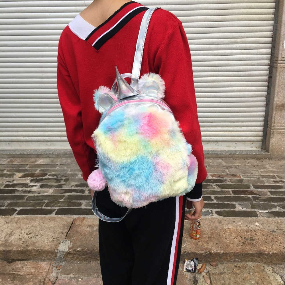 Fashion Cute Unicorn Women Backpacks Cartoon Kawaii Bagpacks Leather Hologram Women Girls School Bags Leather Backpack Mochila #6