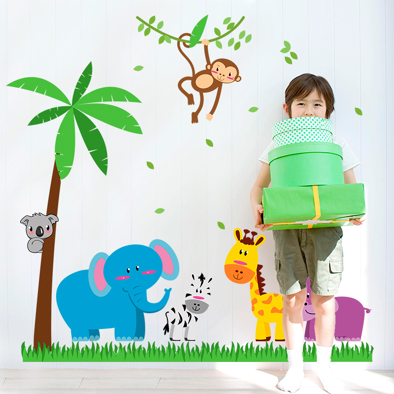 Cute animal tree wall stickers for kids rooms home decor cartoon wallpaper removable boys bedroom wall decals