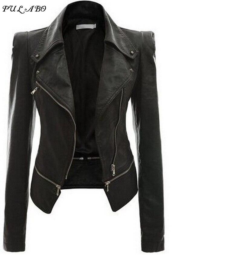 Spring Autumn Winter Ladies Motorcycle   Leather   Jackets Women Turn-down Collar Zipper Slim Black Moto & Biker Jacket Female