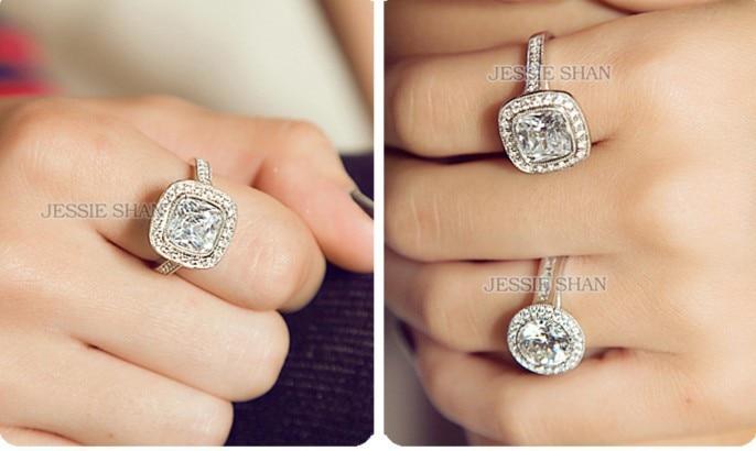 3 carat cushion cut NSCD synthetic diamond halo Engagement rings14k