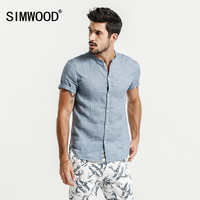 SIMWOOD 2017 Casual Shirts Men Summer Short Sleeve 100 Pure Ramie Cool Breathable Plus Size Brand