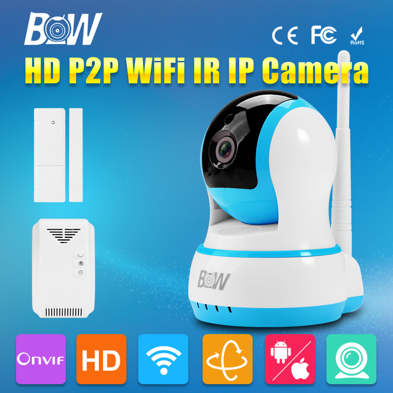 BW HD 720P IP Wireless Wifi Camera P2P + Door Sensor + Gas Detector Linkage Device Positioning CMOS IR-Cut Night Vision Video bw wireless wifi door