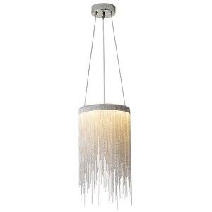 Image 1 - Современная алюминиевая Подвесная лампа, новинка, Алюминиевые цепочки 12 Вт, светодиодный подвесной светильник для столовой, гостиной, спальни, светильник (DL 60)