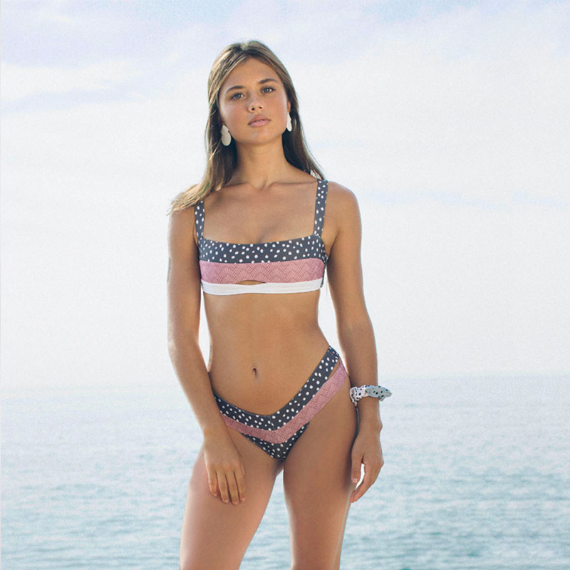 HTB1gwLAbUGF3KVjSZFoq6zmpFXaz Dot Patchwork Bandeau Bikini 2019 High Quality Push Up Bikinis Female Bikini Set Swimsuit Women'S Beach Feminino May Biquinis