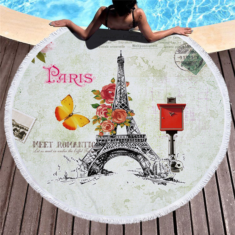 London/Paris Retro Stamp Microfiber Round Beach Towel with Tassel Large Bath Towels Sunb ...