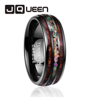 2018 Personality Tungsten men's Ring Engagement Wedding Jewelry Comfort Fit ring vintage Dome Black Acacia Wood Opal rings