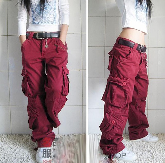 Free Shipping 2021 New Arrival Fashion Hip Hop Loose Pants Jeans Baggy Cargo Pants For Women 3