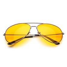 Fashion Yellow Lens Sunglasses Men and Women Casual Simple Metal Frame Night Vision Polarizer Free Shipping Sale