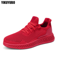 YIKUYUBO Summer Men's Red Breathable Sneakers Casual Shoes Comfortable Non slip Soft Mesh Men Shoes Sizi 39 40 41 42 43 44