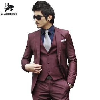 5d4ebbc719f01 (Ceket + Pantolon + Kravat) lüks Erkekler Düğün Takım Elbise Erkek Blazers  Slim Fit Takım Elbise Erkekler Için Kostüm Iş Resmi Parti Mavi Klasik Siyah