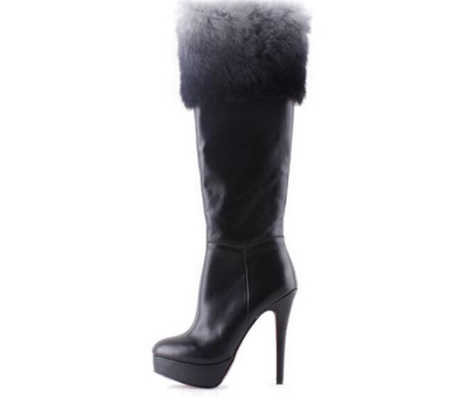 2016 women 's Knight boots genuine leather thin heels knee boots ladies fashion design top quality boots with fur women shoes handmade quality custom sexy charm contracted style leather side zippers rivet women s knight boots