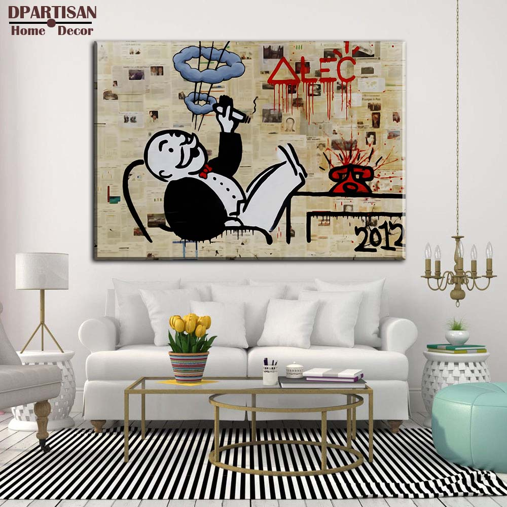 Graffiti art home decor - Dpartisan Alec Monopoly No5 Big Graffiti Art Print On Canvas For Wall Picture Decoration Oil Painting