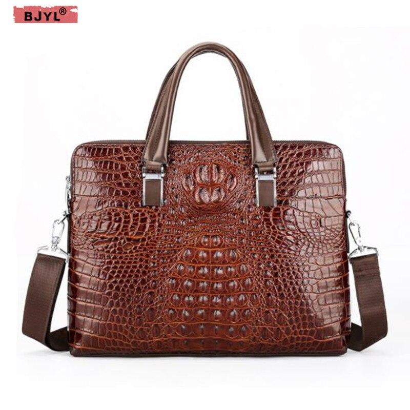 BJYL Crocodile Pattern Men Handbag Laptop Bag Cross Section Genuine Leather Large Capacity Briefcase Shoulder Messenger Bags