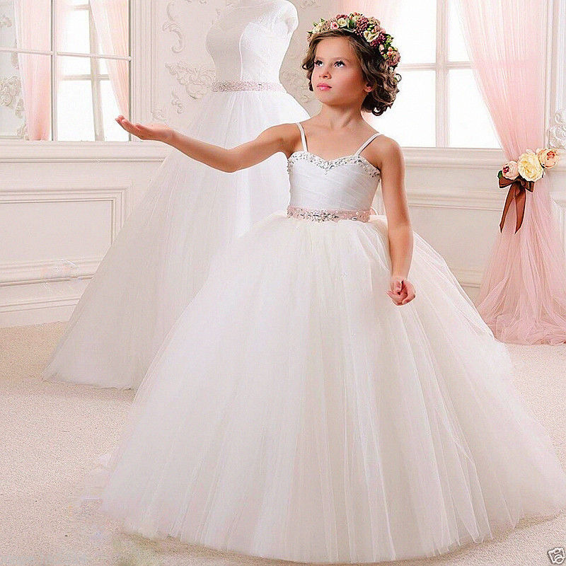 White Pageant Dresses for Girls Glitz A-Line Kids Beauty Mother Daughter Dress Ankle-Length Flower Girl Dress vestido de daminha